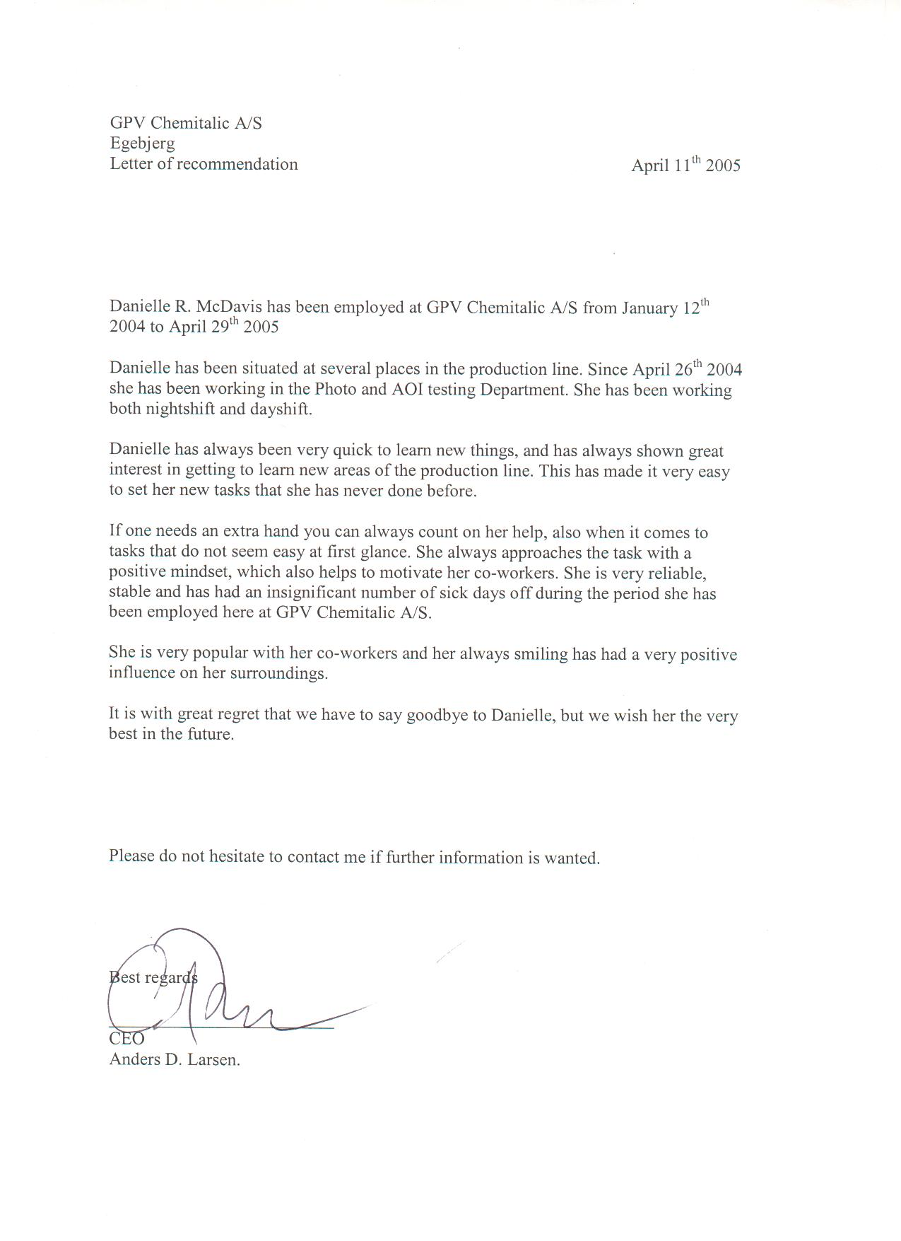 Letter of Recommendation, CEO, Anders D. Larsen, Chemitalic A/S